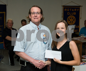 060817 Wesley Bunnell   Staff  The New Britain/Berlin Rotary Club held an awards luncheon on Thursday afternoon honoring high school golfers from both boys and girls teams from New Britain, Berlin and the boys team from EC Goodwin. The 54th Annual Stan Pisk Memorial High School Golf Championship was previously held on Tuesday May 30. Berlin High School's Darby Trowbridge poses with Rotary President Kenneth Jones as she receives her scholarship.