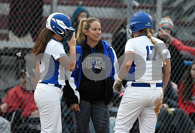6/8/2017 Mike Orazzi | Staff Southington's Davina Hernandez   talks with Francesca Ferrante   (5) and Abigail Lamson (17) during a win over Cheshire in the Class LL final a Deluca Field in Stratford Thursday night.