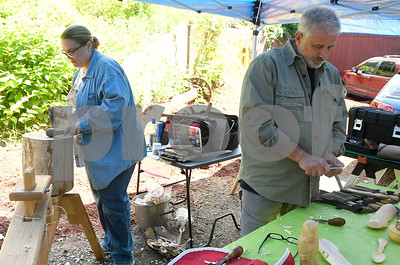 6/3/2017 Mike Orazzi | Staff Lynda Zibbideo and Michael Audette carve wood during the 18th Annual Wood Carving Show and Sale hosted by Connecticut Wood Carvers Association and The New England Carousel Museum in Bristol Saturday.