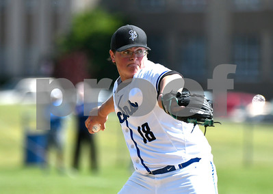6/3/2017 Mike Orazzi | Staff St. Paul Catholic High School pitcher Wes Lahey (18) during a 7-6 loss in the Class S Quarterfinal baseball game with Housatonic Regional Saturday in Bristol.