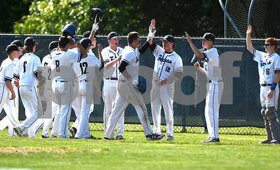 6/3/2017 Mike Orazzi | Staff St. Paul Catholic High School's Andrew Owsianko (10) after a three run home run during a 7-6 loss in the Class S Quarterfinal baseball game with Housatonic Regional Saturday in Bristol.