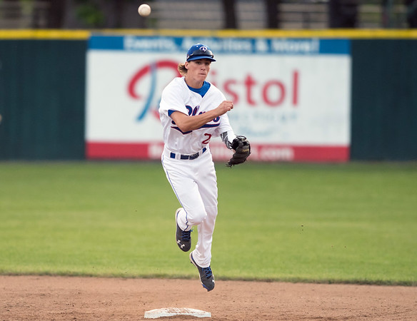 06/12/18 Wesley Bunnell | Staff The Bristol Blues vs the Worcester Bravehearts at Muzzy Filed on Tuesday night. Short stop Ryan Lutz (29) keeps the grounder himself to touch second base and turn the double play.