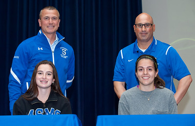 06/12/18  Wesley Bunnell | Staff  Nicole Carter, L, and Ariana Gazaferi from Southington High School both signed their commitment letters on Tuesday afternoon to attend and play soccer for Mt. St. Mary's and the University of St. Josephs respectively.  Head coach Mike Linehan, L, and Athletic Director Greg Ferry.