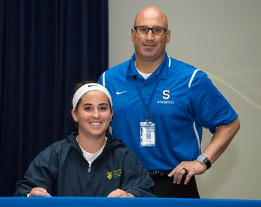 06/12/18  Wesley Bunnell | Staff  Southington High School softball player Francesca Ferrante signed her college commitment letter on Tuesday afternoon in front of Athletic Director Greg Ferry.