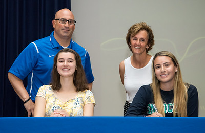 06/12/18  Wesley Bunnell | Staff  Southington High School tennis players Samantha Barmore, L, and Carolyn Callahan signed their college commitment letters on Tuesday afternoon. Athletic Director Greg Ferry, L, and Head Coach Robin Thompson.