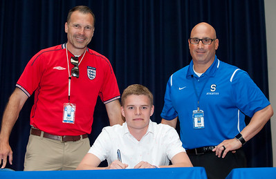 06/12/18  Wesley Bunnell | Staff  Hayden Burbank from Southington High School signed his commitment on Tuesday afternoon to attend and play soccer for the University of St. Joseph.  Head coach Dave Yanosy, L, and Athletic Director Greg Ferry.