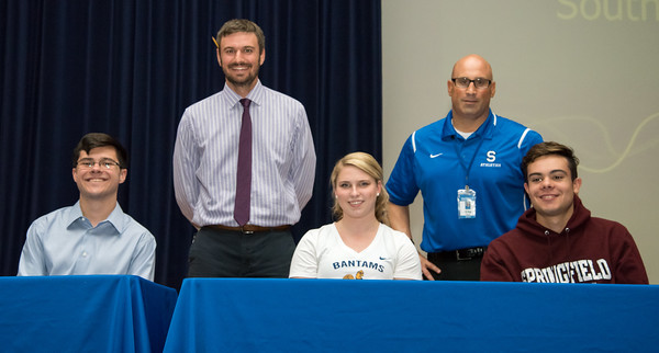 06/12/18  Wesley Bunnell | Staff  Southington High School swimmers Quint Kimmel, L, Olivia Fournier and Brendon Egan signed their college commitment letters on Tuesday afternoon. Head coach Evan Tuttle, L, and Athletic Director Greg Ferry.