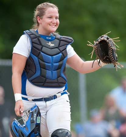 06/01/18 Wesley Bunnell | Staff Southington defeated South Windsor 1-0 on Friday afternoon to advance to the Class LL Semi Final Tournament game. Catcher Abigail Lamson (17).