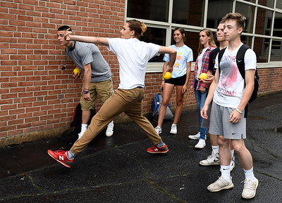6/1/2018 Mike Orazzi | Staff Bristol Eastern High School junior Jagger Duquette during the SAT fair for juniors on Friday in the school's courtyard.