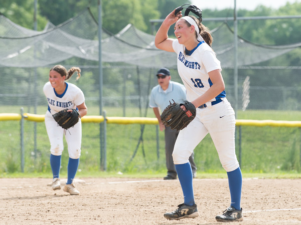 06/01/18 Wesley Bunnell | Staff Southington defeated South Windsor 1-0 on Friday afternoon to advance to the Class LL Semi Final Tournament game. Pitcher Kara Zazzaro (18) removes her mask after the final out.
