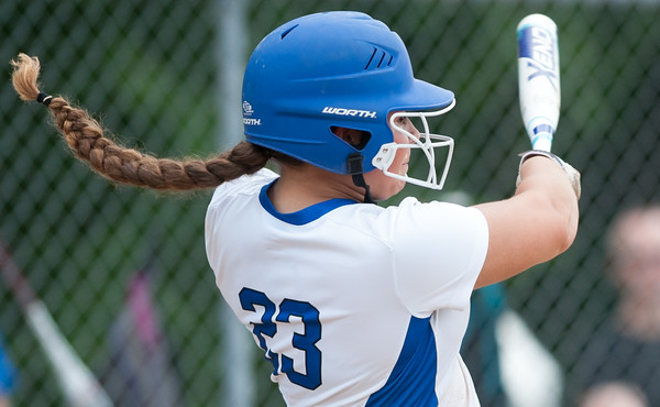 06/01/18 Wesley Bunnell | Staff Southington defeated South Windsor 1-0 on Friday afternoon to advance to the Class LL Semi Final Tournament game. Madison Rocha (23) has her pony tail fly up during her swing.