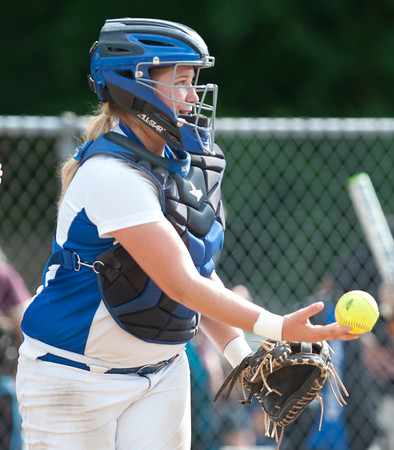 06/01/18 Wesley Bunnell | Staff Southington defeated South Windsor 1-0 on Friday afternoon to advance to the Class LL Semi Final Tournament game. Catcher Abigail Lamson (17) tosses the ball away after a called third strike to end the inning.
