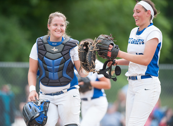 06/01/18 Wesley Bunnell | Staff Southington defeated South Windsor 1-0 on Friday afternoon to advance to the Class LL Semi Final Tournament game. Catcher Abigail Lamson (17) bumps gloves with pitcher Kara Zazzaro (18).
