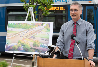 06/01/18  Wesley Bunnell | Staff  Mayor Erin Stewart along with city and state officials as well as developers held a press conference on Friday afternoon at the CTFastrak Station to kick off the start of Beehive Bridge Project.  Director of Public Works Mark Moriarty speaks while standing near the bridge plans.