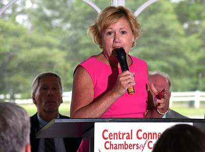 6/13/2018 MIke Orazzi | Staff Cindy Bombard President & CEO Central Connecticut Chambers of Commerce, during the State of the City  & Towns Breakfast Wednesday morning.