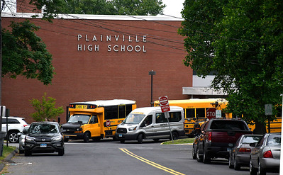 6/13/2018 Mike Orazzi | Staff Plainville Schools were locked down after people reported hearing gunshots. SWAT swept the building. Police say there were no gunshots. The source of the sound is undetermined.