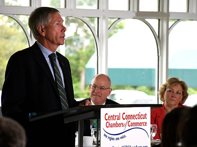 6/13/2018 MIke Orazzi | Staff Plymouth Mayor Dave Merchant during the State of the City  & Towns Breakfast Wednesday morning.