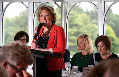 6/13/2018 MIke Orazzi | Staff Susan Sadecki, chairman of the board, Central CT Chambers of Commerce, during the State of the City  & Towns Breakfast Wednesday morning.