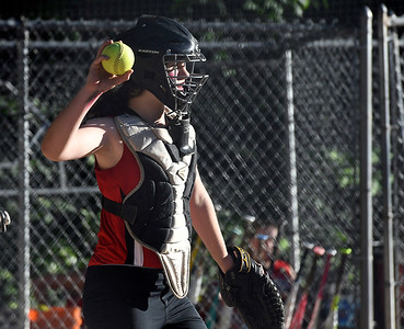 6/15/2018 Mike Orazzi | Staff Freedom's Gracie Lamar (5) during city softball in Rockwell Park Friday evening.