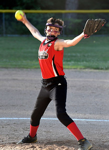 6/15/2018 Mike Orazzi | Staff Freedom's Sierra Messler (14) during city softball in Rockwell Park Friday evening.