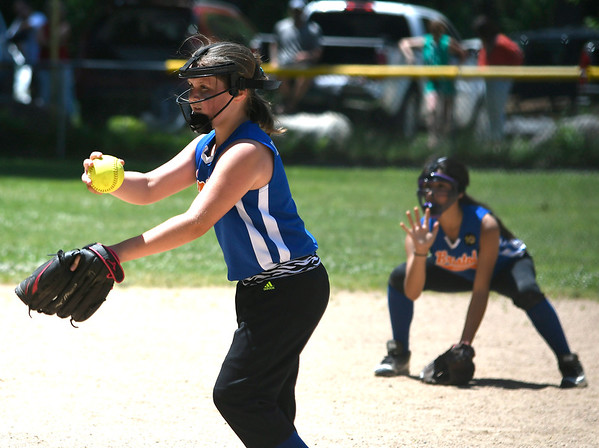 6/16/2018 Mike Orazzi | Staff The Gators' Hailey Beebe (9) during the city softball series Saturday in Bristol.