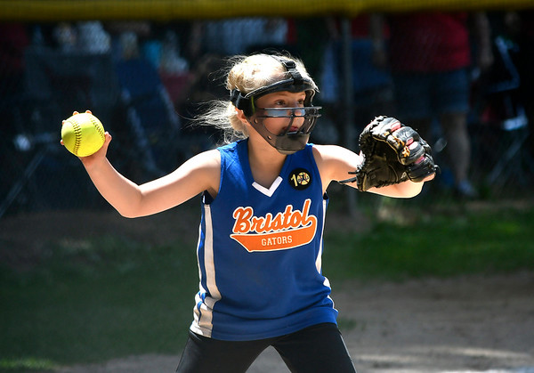 6/16/2018 Mike Orazzi | Staff The Gators' Brooklynne Whitlock (3) during the city softball series Saturday in Bristol.