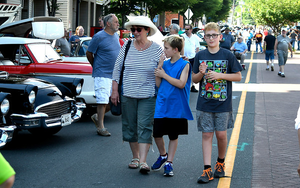6/16/2018 Mike Orazzi | Staff Debbi Grisko and her grand children Jase and Jaxson Koczur during The Ninth Annual Bill Englert Memorial Car Show, sponsored by TEAM Bristol, held on North Main Street Saturday evening in Bristol.