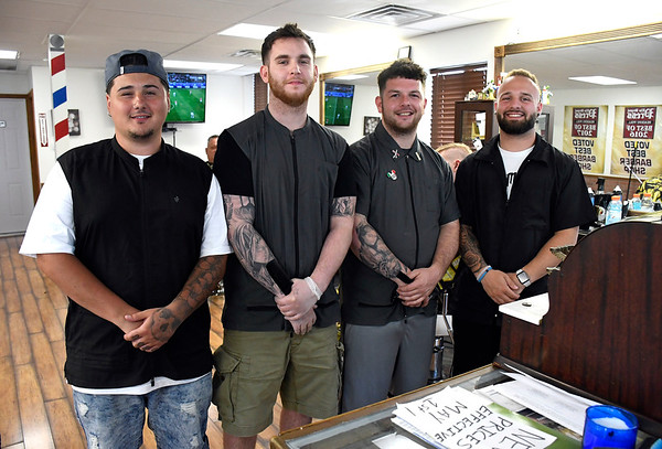 6/19/2018 Mike Orazzi | Staff The New England Barber Shop's Nicholas Coakley, Kelvin Morin, Thomas White and Eli Minella.