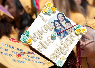 06/19/18  Wesley Bunnell | Staff  Two decorated caps honoring family members are worn by graduating seniors at New Britain High School's graduation exercises at Veterans' Memorial Stadium at Willow Brook Park on Tuesday morning.