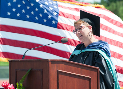 06/19/18  Wesley Bunnell | Staff  Superintendent of schools Nancy Sarra gives opening greetings as New Britain High School held their graduation exercises at Veterans' Memorial Stadium at Willow Brook Park on Tuesday morning.