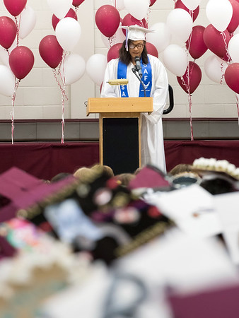 06/20/18 Wesley Bunnell | Staff Bristol Central held their graduation ceremony on Wednesday evening at the high school. Mersadez Chaleman gives the class poem.
