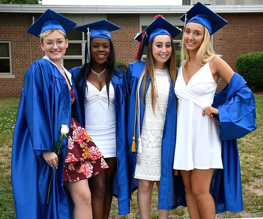 6/20/2018 Mike Orazzi | Staff Graduates Zoe Smyth, Victoria Wuesthoff Paige Lowrey and Abby Poznanski at the Bristol Eastern High School graduation Wednesday night.