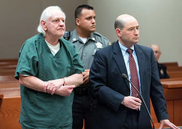 06/20/18 Wesley Bunnell | Staff Defendant Robert Honsch, shown with his Attorney Michael Isko, was charged in New Britain Superior Court on Wednesday afternoon in the 1995 murder of his daughter.