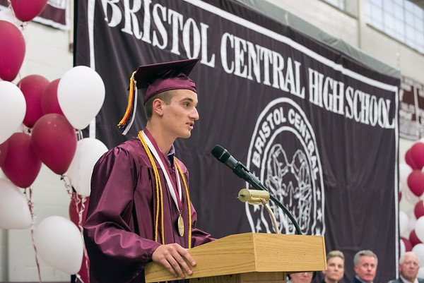 06/20/18 Wesley Bunnell | Staff Bristol Central held their graduation ceremony on Wednesday evening at the high school. Valedictorian Michael Kaminski.
