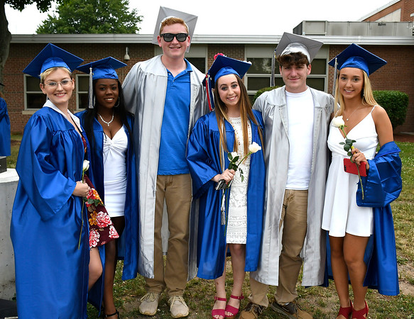 6/20/2018 Mike Orazzi | Staff Graduates Zoe Smyth, Victoria Wuesthoff Jonathan Pierce, Paige Lowrey, William Pierce and Abby Poznanski at the Bristol Eastern High School graduation Wednesday night.