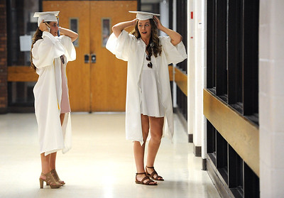 6/21/2018 Mike Orazzi | Staff Stephanie Zera and Hannah Zelina during Southington High School's graduation Thursday evening.