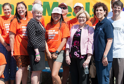06/21/18  Wesley Bunnell | Staff  Executive Director of End Hunger Connecticut Shannon Yearwood, 2nd from L, Lt. Governor Nancy Wyman, Connecticut Department of Education Commissioner of Education Dr. Dianna R. Wentzell, 5th from L, and President and CEO of The United Way of Central and Northeastern CT Paula Gilberto stand along with volunteers at the conclusion of the End Hunger Connecticut kick off conference on Thursday afternoon. The event was held along with The United Way and the Connecticut Department of Education for the purpose of helping to feed school children on break for the summer.