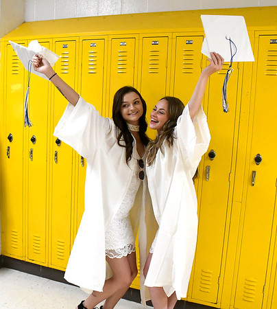 6/21/2018 Mike Orazzi | Staff Michelle Nogaj and Hannah Michaels during Southington High School's graduation Thursday evening.
