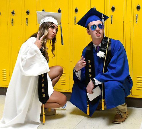 6/21/2018 Mike Orazzi | Staff Sydney Marecki and Anthony Ricco during Southington High School's graduation Thursday evening.
