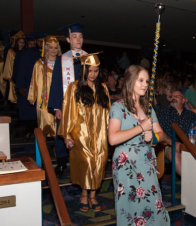 06/21/18 Wesley Bunnell | Staff Newington High School held their commencement at The Oakdale Theatre on Thursday evening. Students make their way into he theater.