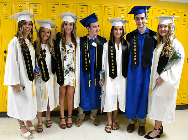 6/21/2018 Mike Orazzi | Staff Class officers during Southington High School's graduation Thursday evening.