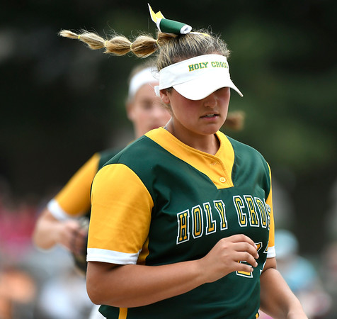 6/2/2018 Mike Orazzi | Staff Holy Cross pitcher Nicole Strielkauskas (27) during the Class S Quarterfinal softball game with St. Paul in Bristol Saturday.