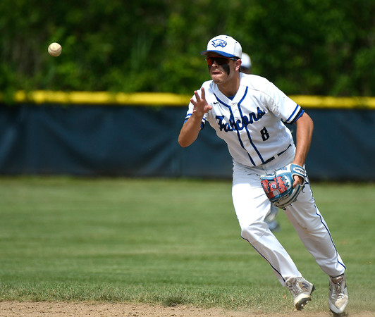 6/2/2018 Mike Orazzi   Staff St. Paul's Julian Thayer (8) during the Class S Quarterfinal baseball game with Notre Dame-Fairfield in Bristol Saturday.