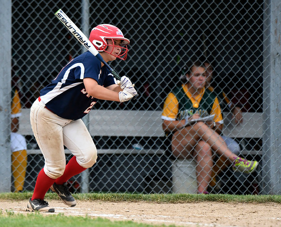6/2/2018 Mike Orazzi   Staff St. Paul Catholic High School's Katrina Roy (20) during the Class S Quarterfinal softball game with Holy Cross in Bristol Saturday.