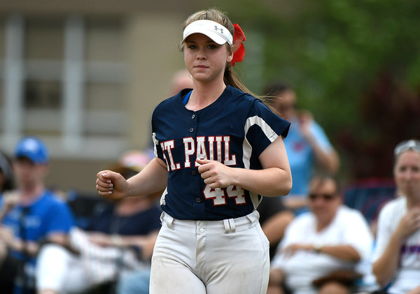 6/2/2018 Mike Orazzi | Staff St. Paul's Abby Poirot (44) during the Class S Quarterfinal softball game with Holy Cross in Bristol Saturday.