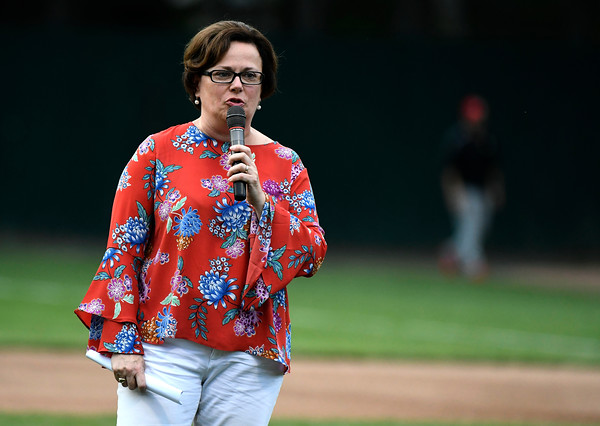 6/2/2018 Mike Orazzi | Staff Bristol Mayor Ellen Zoppo Sassu at the home opener for the Bristol Blues' 2018 baseball season at Muzzy Field in Bristol Saturday night.