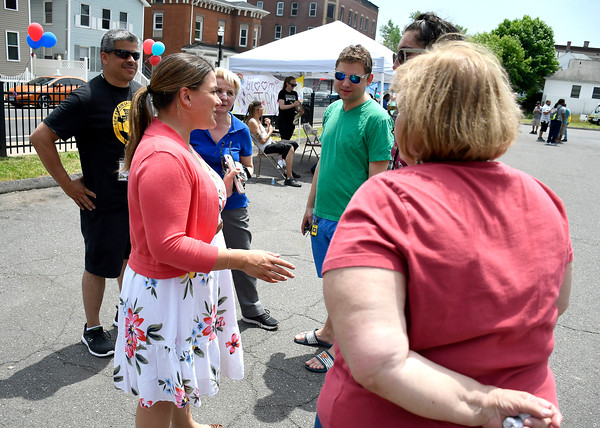 6/2/2018 Mike Orazzi | Staff New Britain Mayor Erin Stewart during the Arch Street Neighborhood Revitalization Zone Build-A-Better-Block celebration held on Arch Street Saturday afternoon.