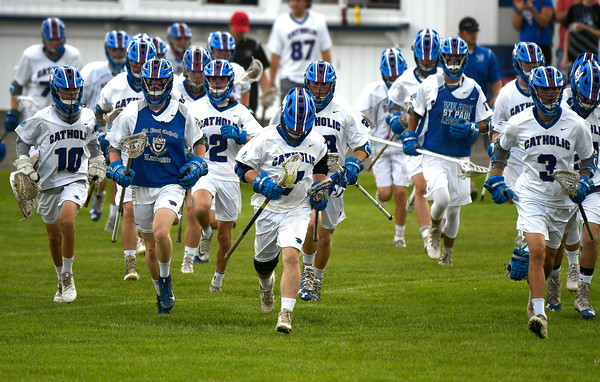 6/2/2018 Mike Orazzi   Staff St. Paul boys lacrosse during the Class S Quarterfinal lacrosse match with St. Joseph in Bristol Saturday.
