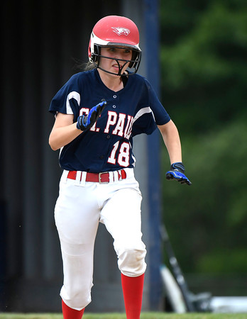 6/2/2018 Mike Orazzi   Staff St. Paul Catholic High School's Caleigh Mcdougall (18) during the Class S Quarterfinal softball game with Holy Cross in Bristol Saturday.