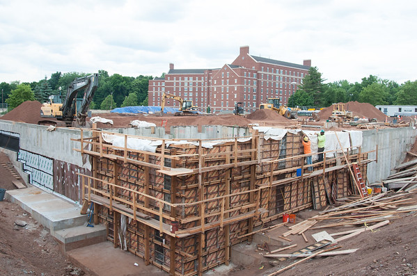 06/21/18 Wesley Bunnell | Staff Construction on the new Huang Family Recreation Center on the CCSU campus which is replacing the Kaiser Annex.